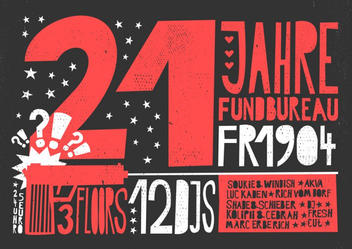 Happy 21 Fundbureau!  3FLOORS - 12DJS